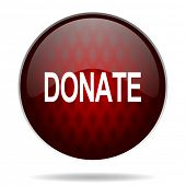donate red glossy web icon on white background