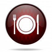restaurant red glossy web icon on white background