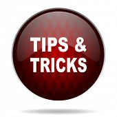 tips tricks red glossy web icon on white background