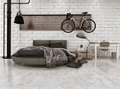 picture of lamp shade  - 3D Rendering of Modern Loft Style Bedroom in Apartment with Furnishings - JPG