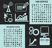 200 media, computer, internet, communication icons, signs, illustrations, silhouettes set, vector on blue background