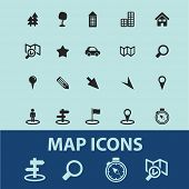 map, navigation, route icons, signs, illustrations, silhouettes set, vector on blue background