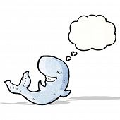 whale with thought bubble cartoon