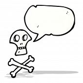 skull and crossbones symbol with speech bubble
