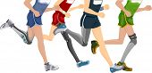 picture of prosthetics  - Cropped Illustration Featuring Runners Wearing Prosthetic Legs - JPG