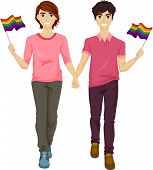 Illustration Featuring a Gay Couple Participating in a Gay Pride March