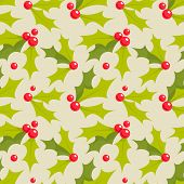 Christmas holly seamless pattern