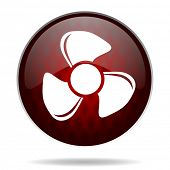 fan red glossy web icon on white background