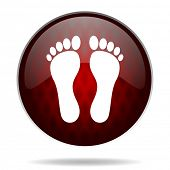 picture of webbed feet white  - foot red glossy web icon on white background - JPG