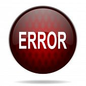 error red glossy web icon on white background