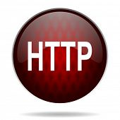 http red glossy web icon on white background