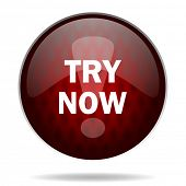 try now red glossy web icon on white background