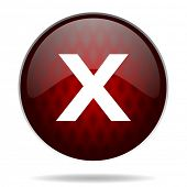 cancel red glossy web icon on white background