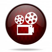 movie red glossy web icon on white background