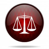 justice red glossy web icon on white background