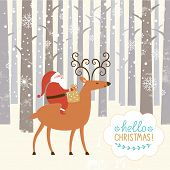 Santa goes on deer. The winter forest, Christmas background