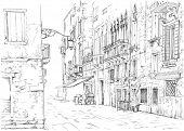 Venice - Calle Fondamenta Megio. Ancient building. Vector drawing