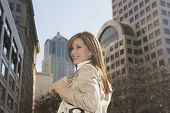 Hispanic woman in urban scene
