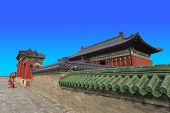 stock photo of emperor  - Emperor temple hall is a hip roof type dry covering blue glazed tile there are white marble stone balustrade base - JPG