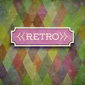 Retro pattern background with label. Vector illustration