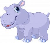 Illustration of very cute hippo calf