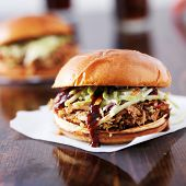 two pulled pork barbecue sandwiches