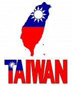 Taiwan map flag and text vector illustration