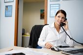 Portrait of young businesswoman talking on phone in office