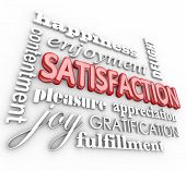 Satisfaction 3d words in a collage background with happiness, enjoyment, delight, contentment, pleasure, appreciation, gratification and fulfillment