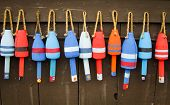 Colorful buoys on a wall of a shake in Maine, USA