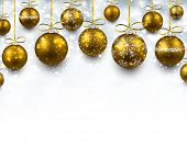 Abstract arc background with golden christmas balls. Vector illustration.