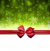 Green winter abstract background. Christmas background with snowflakes and red gift bow. Vector.