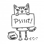 Cat drawing, line art doodle. Cartoon kitten holding a sign, vector illustration.
