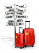 Travel concept. Suitcases and signpost what to visit in China. 3d