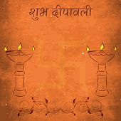 picture of swastika  - Illustration of illuminated oil lit lamp and swastika with hindi text of shubh diwali on grungy background - JPG