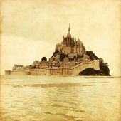 Old style photo of Mont Saint Michel. Normandy. France.