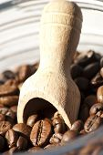 wooden spoon & coffee beans