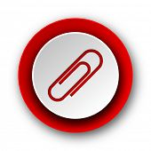 paperclip red modern web icon on white background