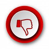 dislike red modern web icon on white background