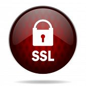 ssl red glossy web icon on white background