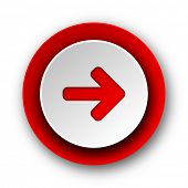 right arrow red modern web icon on white background