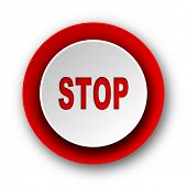 stop red modern web icon on white background