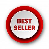 best seller red modern web icon on white background