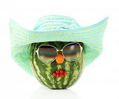 Creative watermelon in hat isolated on white