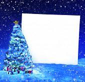 Christmas tree with placard
