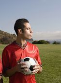 Portrait of male soccer player