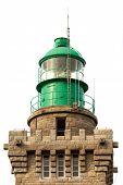Lighthouse lantern isolated over white background, cap Frehel, Brittany, France