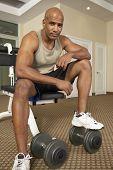 Mixed Race man at health club
