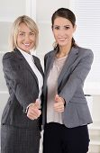 Portrait: Successful business woman team making career in management positions.