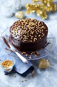 Dark Chocolate Cake with Chocolate Glaze for Christmas